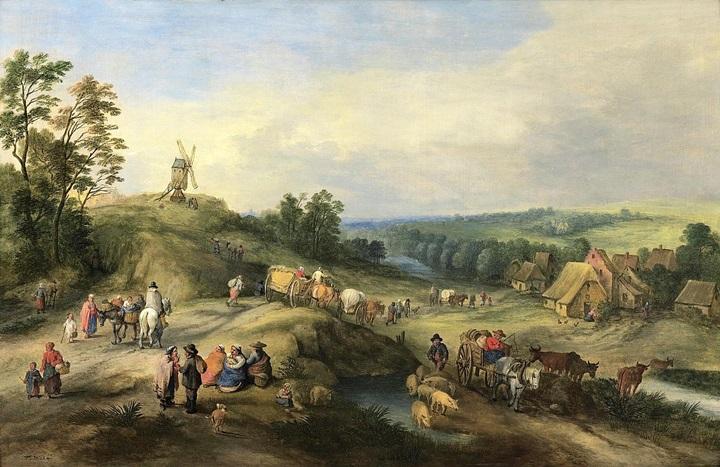 Пейзаж с путешественниками, приближающимися к деревне