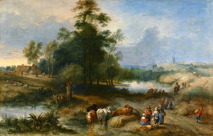 Пейзаж с сельчанами и стадом на водопое