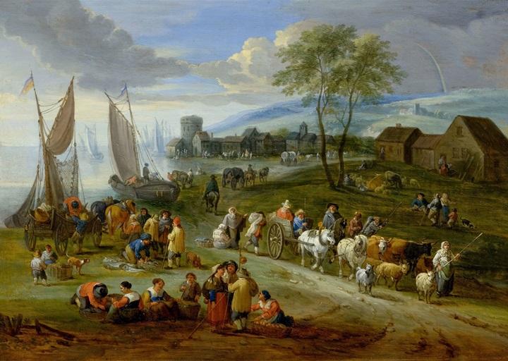 Прибрежный пейзаж с рыбным рынком