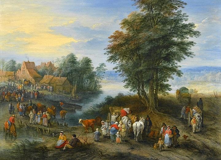 Путешественники, входящие в деревню