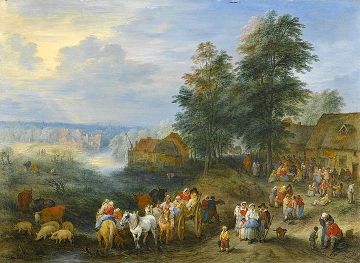 Путешественники, покидающие деревню