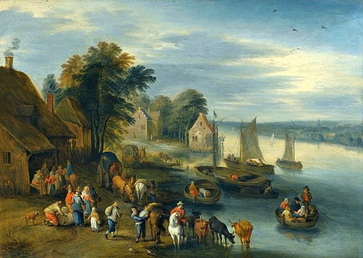 Речной пейзаж с выгрузкой лодок
