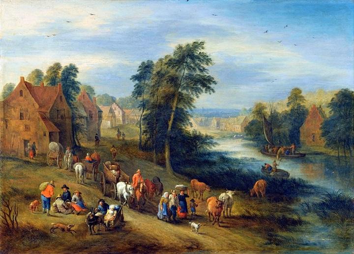 Речной пейзаж с деревней и крестьянами, идущими по дороге