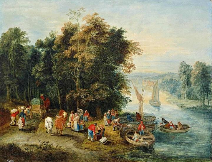 Речной пейзаж с путеш на берегу реки и фигуры на лодках