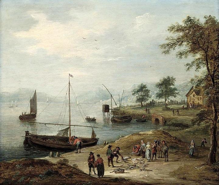 Речной пейзаж с рыбаками, продающими свой улов