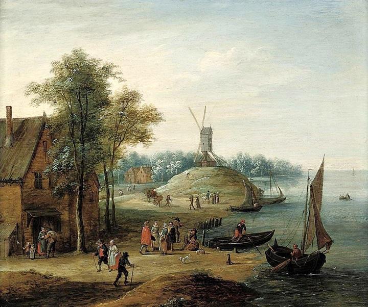 Речной пейзаж с рыбацкими лодками и мельницей вдали