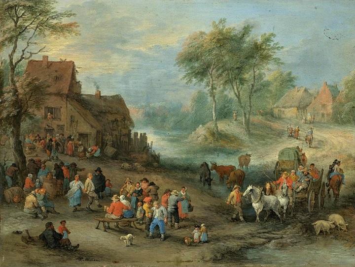 Сельский пейзаж с гуляющими крестьянами и путешественниками, пересекающими ручей