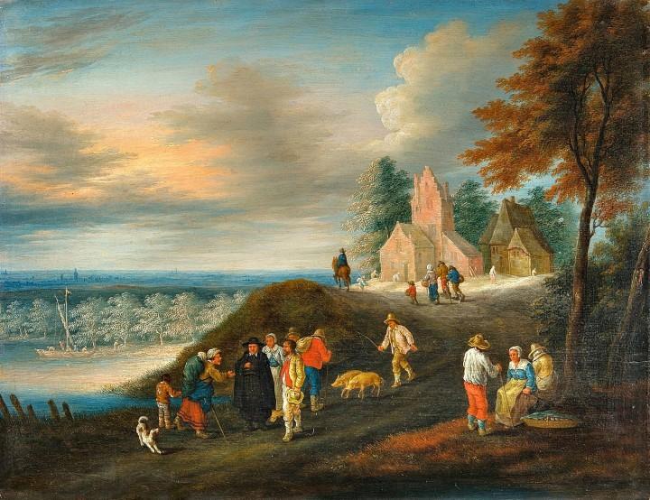 Холмистый пейзаж  с прихожанами на закате_e