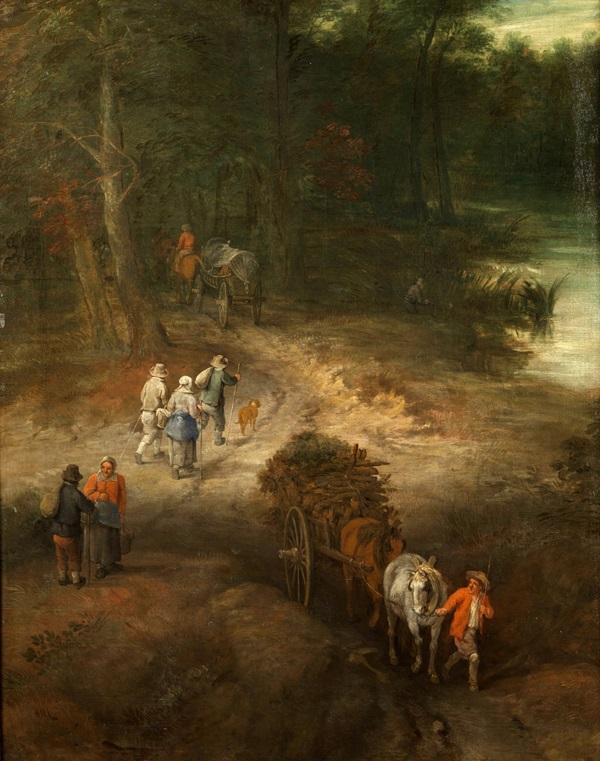 Лесной пейзаж с путешественниками на дороге