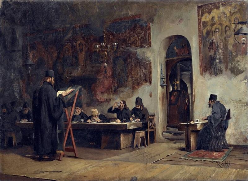 Трапезная в греческом монастыре