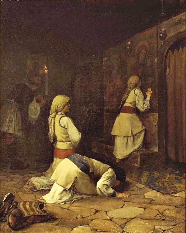 Молитва в греческой церкви на горе Парнас