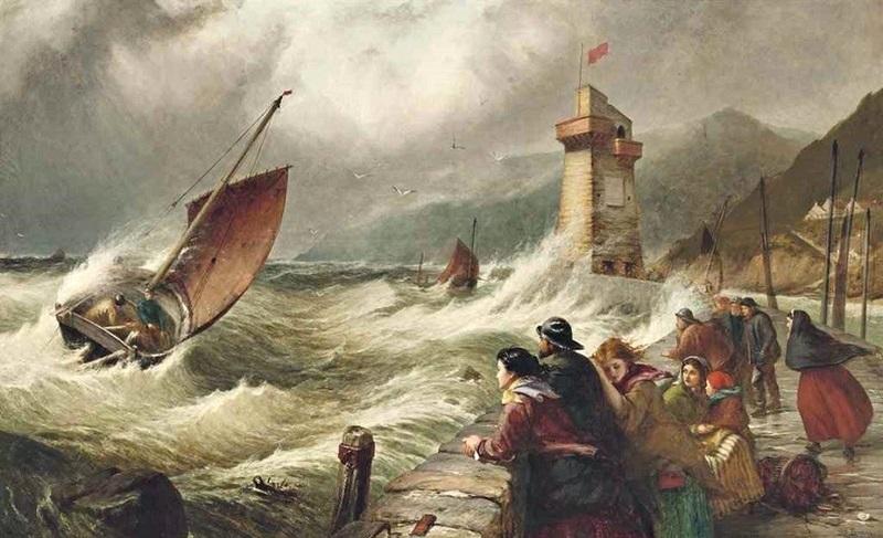 Рыбацкие лодки, пробивающиеся в Линмут