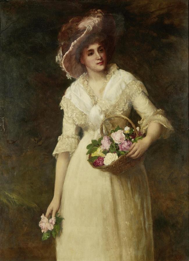 Дама с корзиной роз
