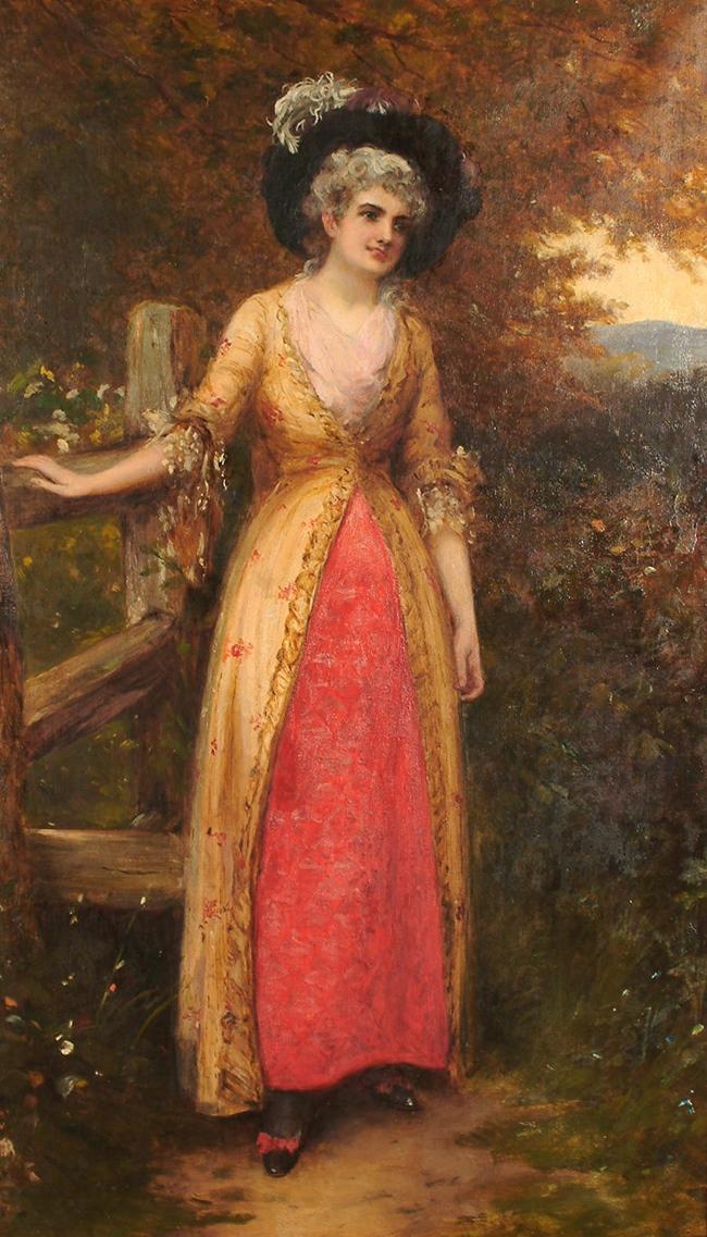 Портрет леди Гамельтон, стоящей у забора