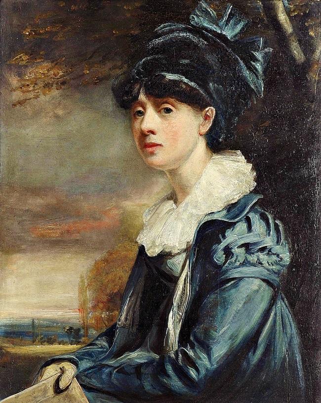 Портрет девушки в синем платье