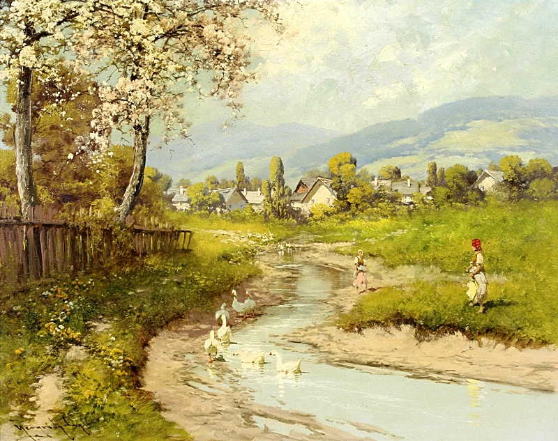 Альпийская сцена с ручьем и деревней.