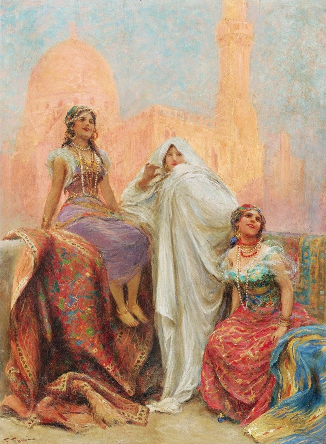 Три красавицы перед мечетью Аль-Рифаи в Каире