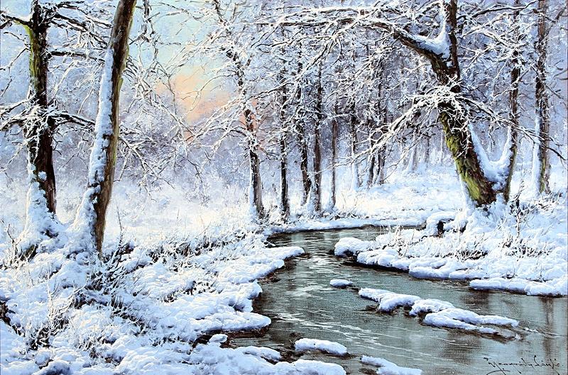 Вечерний зимний лесной пейзаж с ручьем.