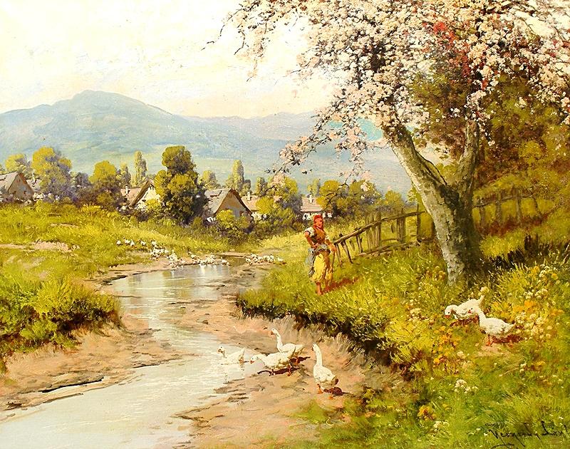 Женщина с гусями у речушки.