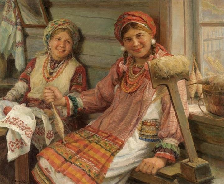 Две молодых ткачихи
