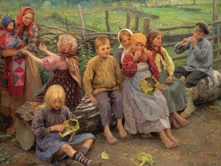 Дети с подсолнухами