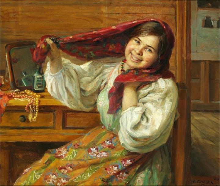 Молодая русская женщина в цветочном платке за столом