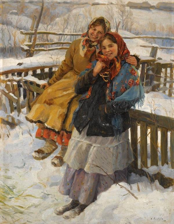 Две девушки в платках