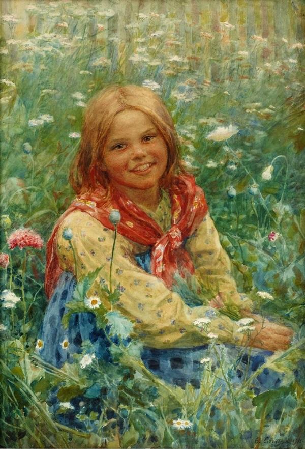 Девочка на цветочном лугу