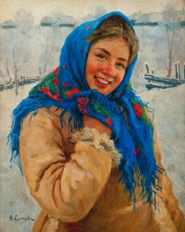 Девушка в синем платке