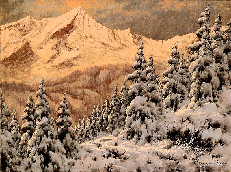 Закат над зимним пейзажем