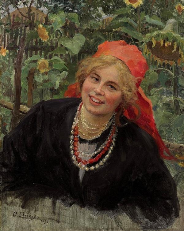 Крестьянская девушка в красном платке на фоне пейзажа