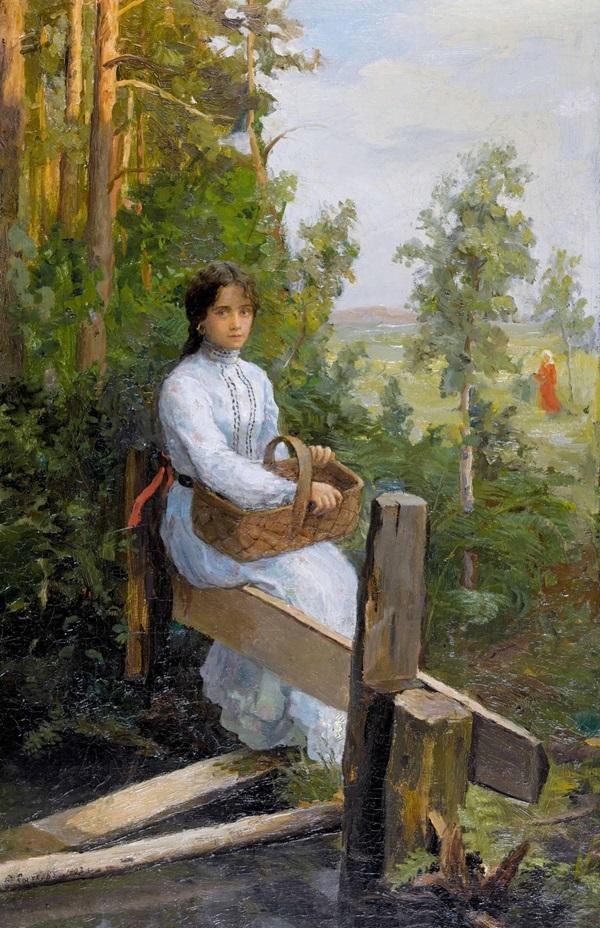 Молодая женщина в белом платье с корзиной