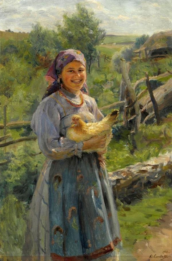 Молодая крестьянка с курицей