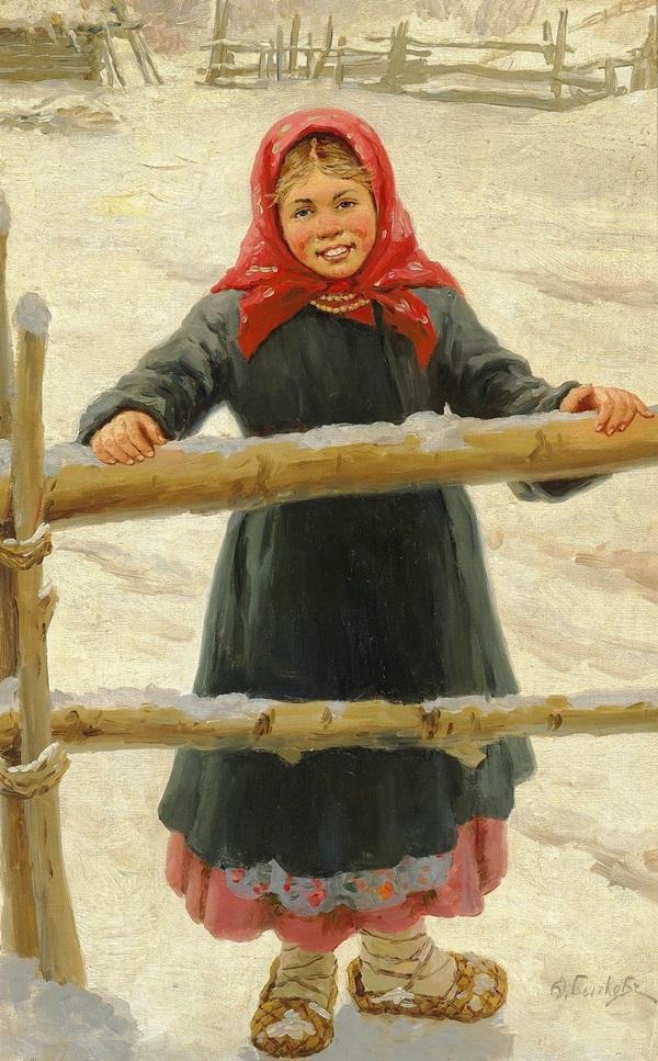 Русская девушка в синем пальто и красном платке, зима