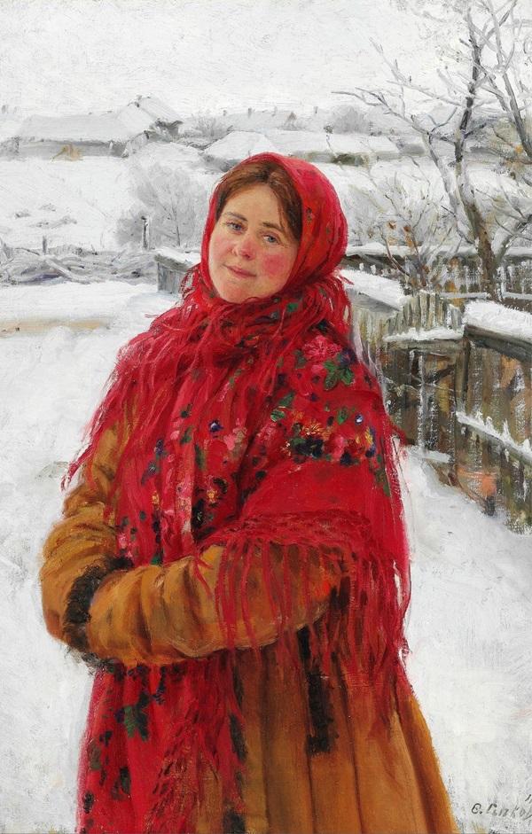 Русская женщина в красном платке на фоне пейзажа