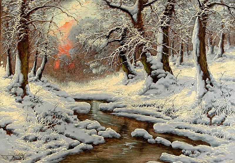 Зимний лесной пейзаж.