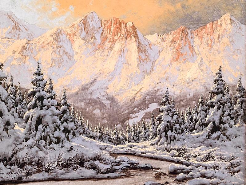 Зимний пейзаж в вечернем свете.