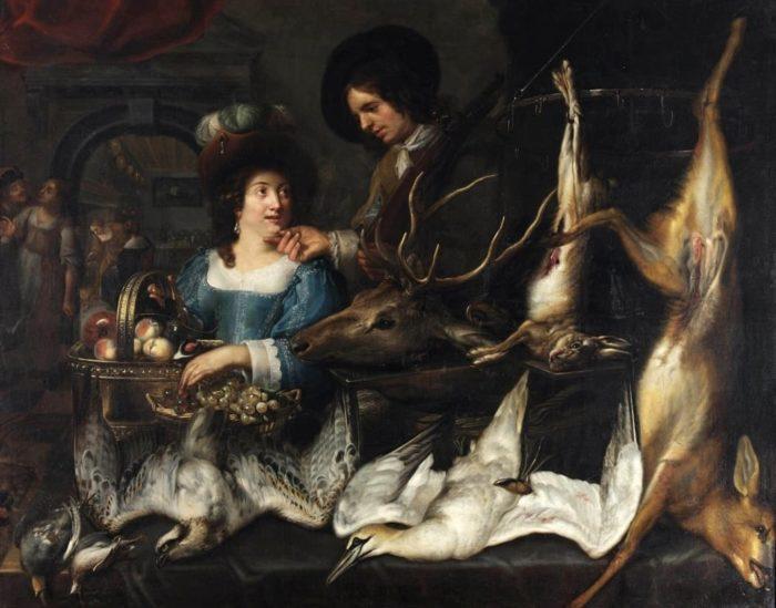 Интерьер с мужчиной, женщиной и охотничьими трофеями