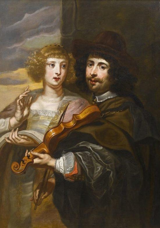 Дама, поющая с мужчиной, аккомпанирующем на скрипке