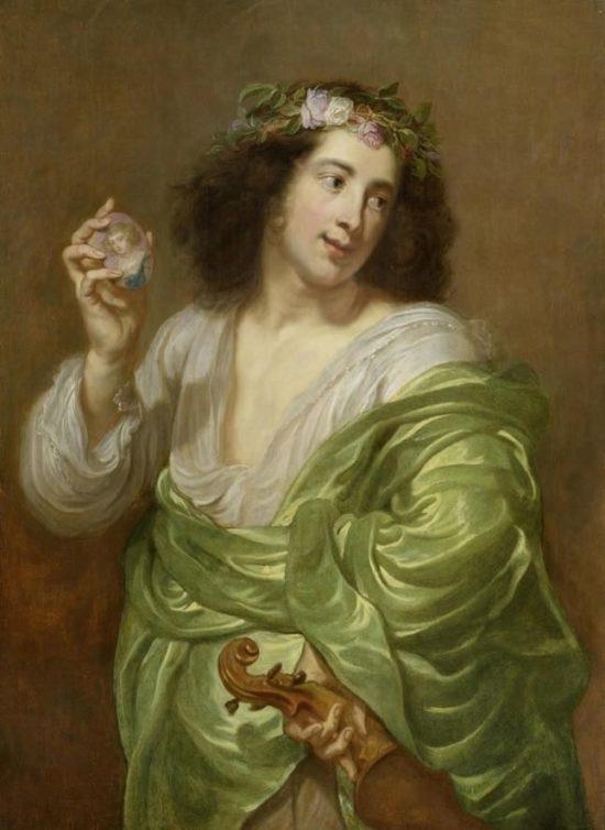 Молодой человек со скрипкой и миниатюрным портретом