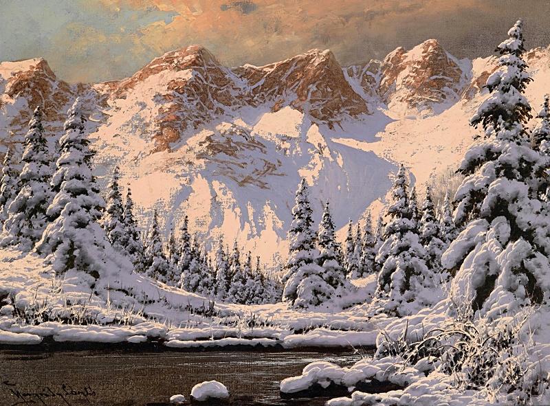 Зимний пейзаж на закате.