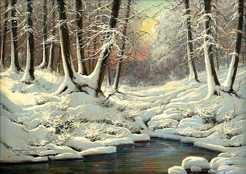 Зимний пейзаж с ручьем в вечернем свете.