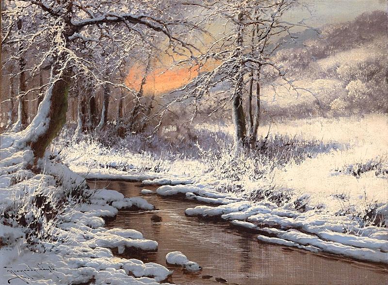Зимний пейзаж с ручьем.