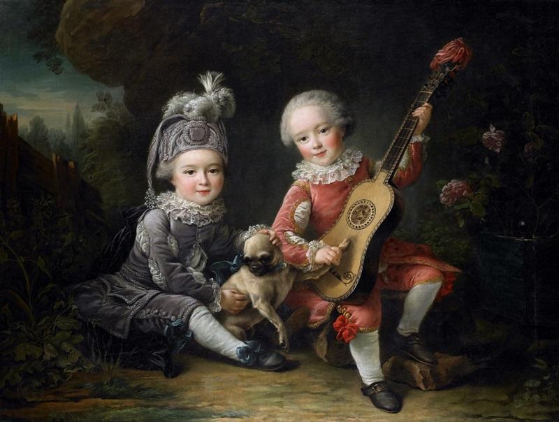 Дети маркиза де Бетюна, играющие с собачкой