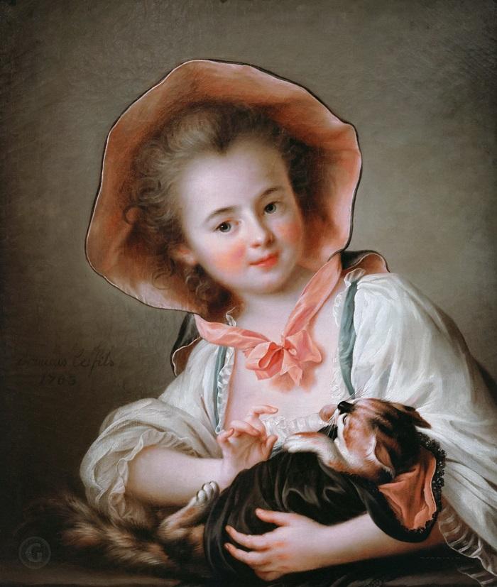 Девочка, играющая с котом