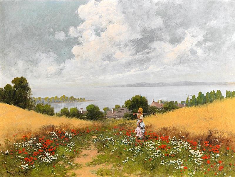 Обширный пейзаж с озером, маками и фигурой.