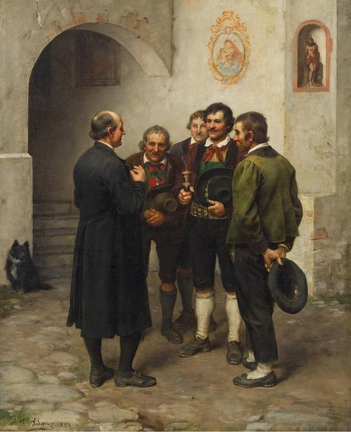 Четверо крестьян беседуют со священником