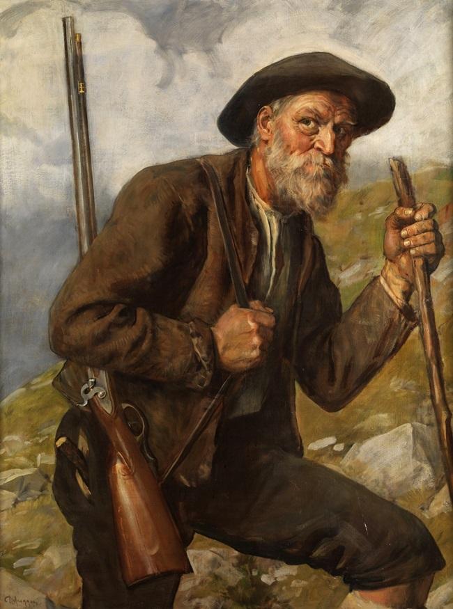 Старый охотник в высокогорье