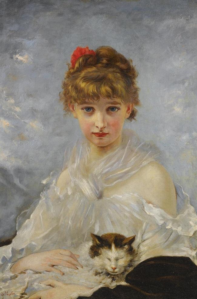 Девочка, возможно, дочь художника с кошкой