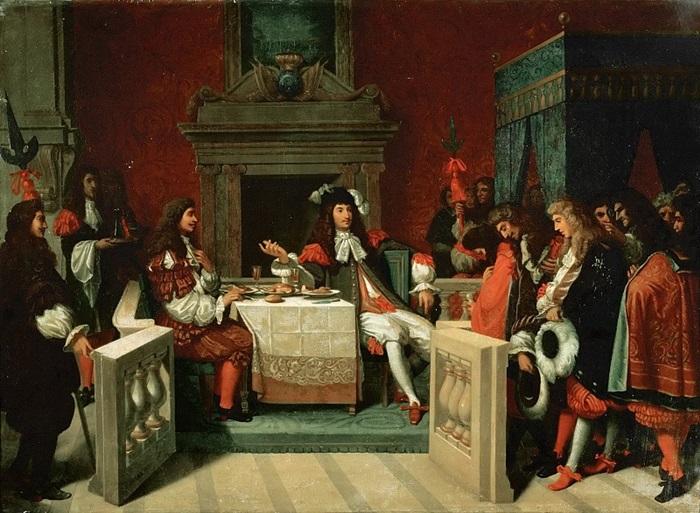 Людовик XIV, обедающий с Мольером.